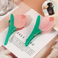 2021 fashion big tulips flower plastic hair claws pink acrylic hair clip claw hairdressing tool hair accessories for women party