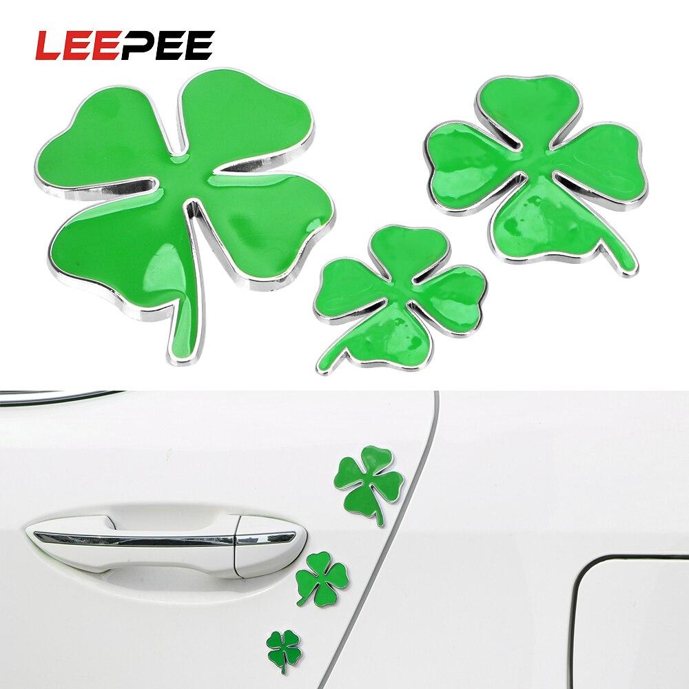 LEEPEE Car Styling pegatina emblema para el coche hoja de trébol verde de cuatro hojas decoración amor símbolo de suerte Chrom Metal Universal