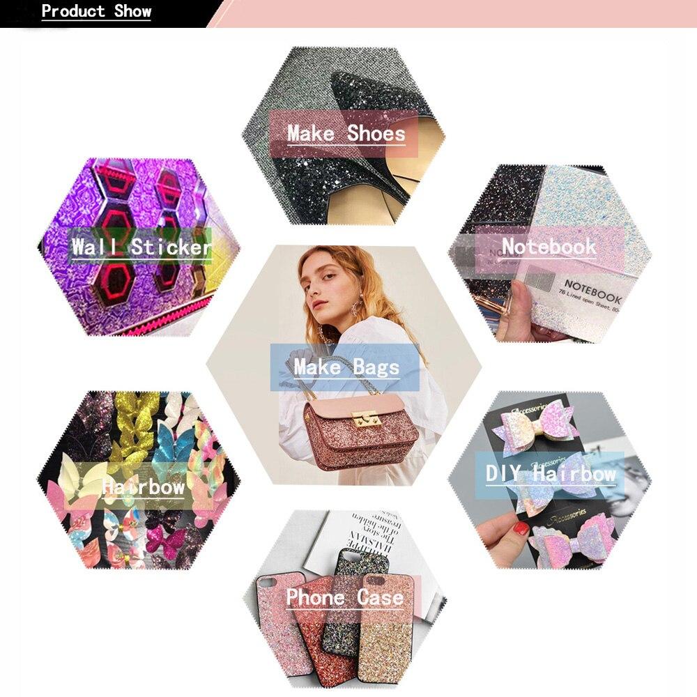 Купить с кэшбэком 22CM*30CM  Glitter Leather Fabric Shiny Laser Sequins Patchwork DIY Bag Shoes Accessories Fabric Handmade Patchwork Materials