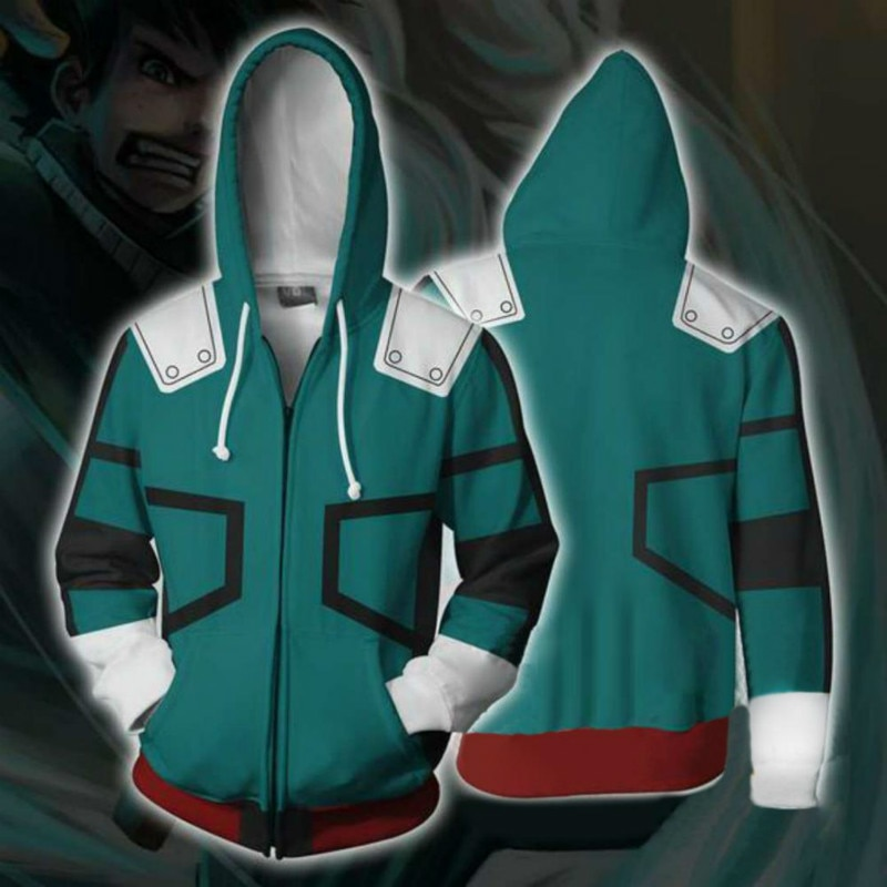 Boku No/Mein Hero Wissenschaft Midoriya Izuku Deku Cosplay Männer Frauen Sweatshirt Hoodies Schule Uniformen Zip Up Jacken Mantel kostüm