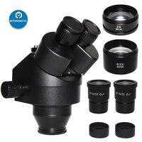 2020 Black 7X-45X 3.5X-90X Simul-Focal Trinocular Microscope Zoom Stereo Microscope Head + 0.5X 2.0X Auxiliary Lens