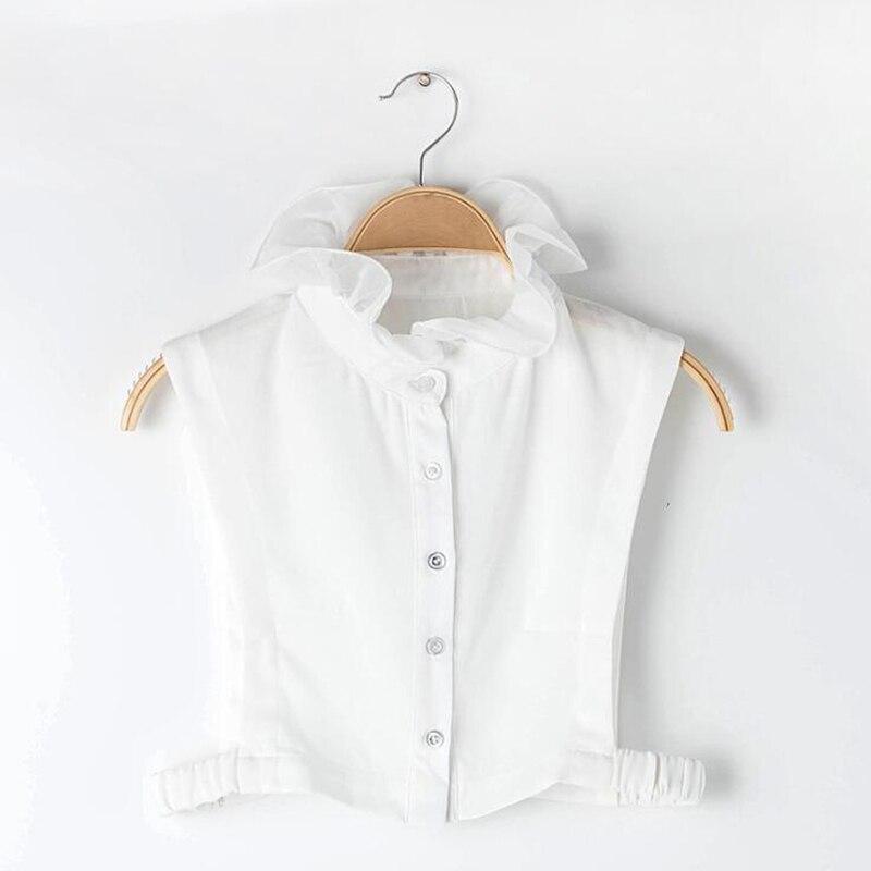Mujer dulce capa Agaric Ruffles Stand falso cuello botón abajo media camisa blusa Top mujer Ropa Accesorios