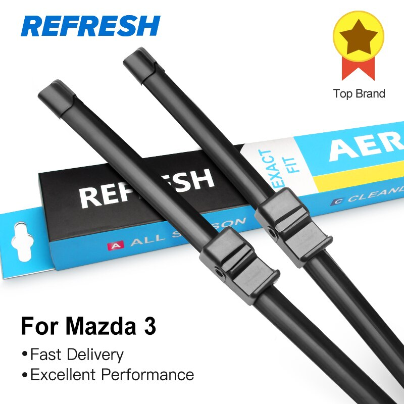 REFRESH escobillas del limpiaparabrisas para Mazda 3 Europe Modelo Fit Side Pin / Hook Arms Modelo del año 2003 al 2017