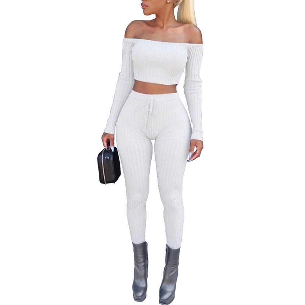 Women Blouse Off Shoulder Cropped Tight Sexy Short Tops Casual Bodycon Pants Women Split 2 Piece Set Outfit Sportswear #LR3