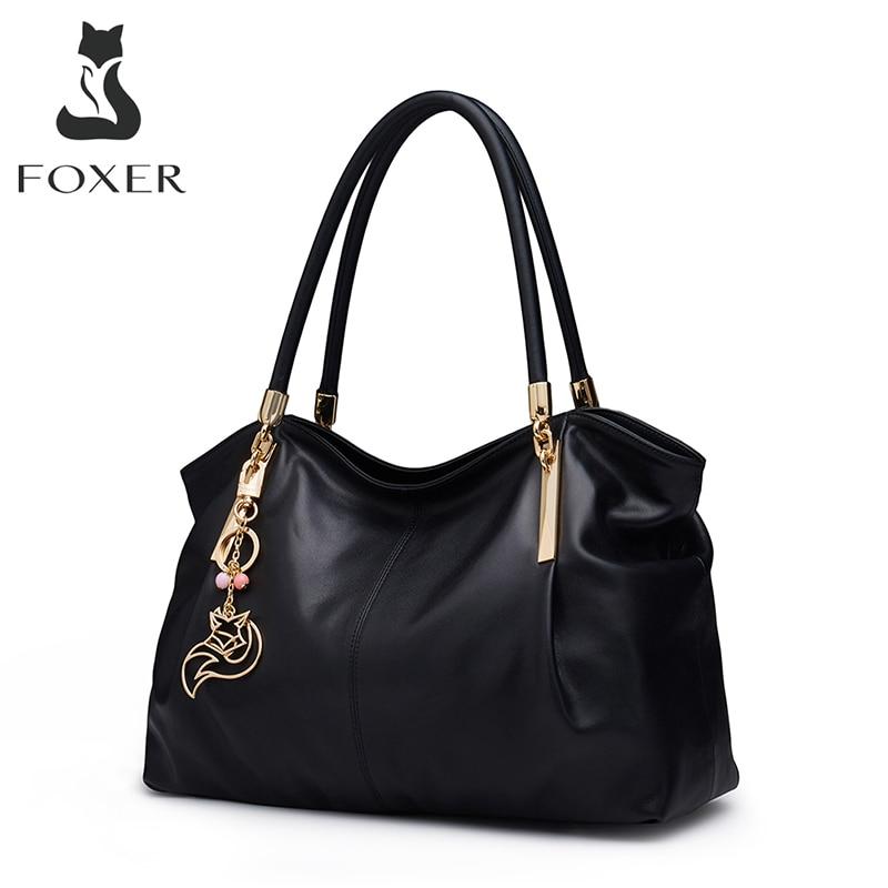 FOXER-حقيبة يد جلدية أصلية ، حقيبة سفر ، سعة كبيرة ، حقيبة حمل ، حقيبة كتف غير رسمية ، عصرية ، مقاس A4
