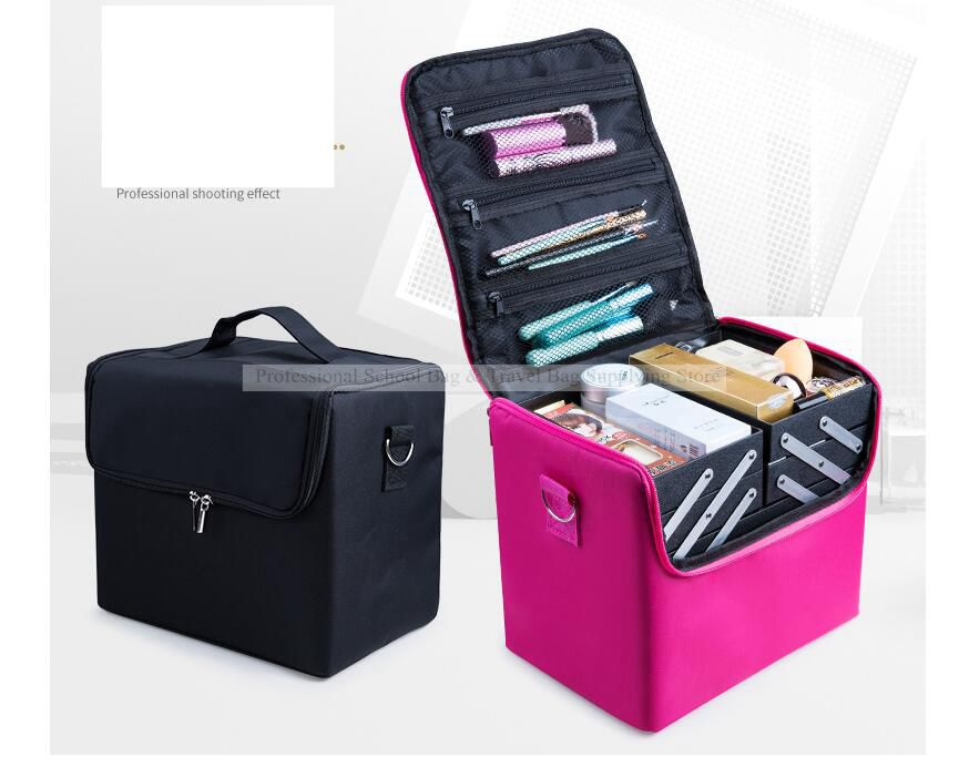 Women Cosmetic Makeup Case Large Capacity Travel Multilayer Cosmetic Bag Case Beauty Salon Tattoos N