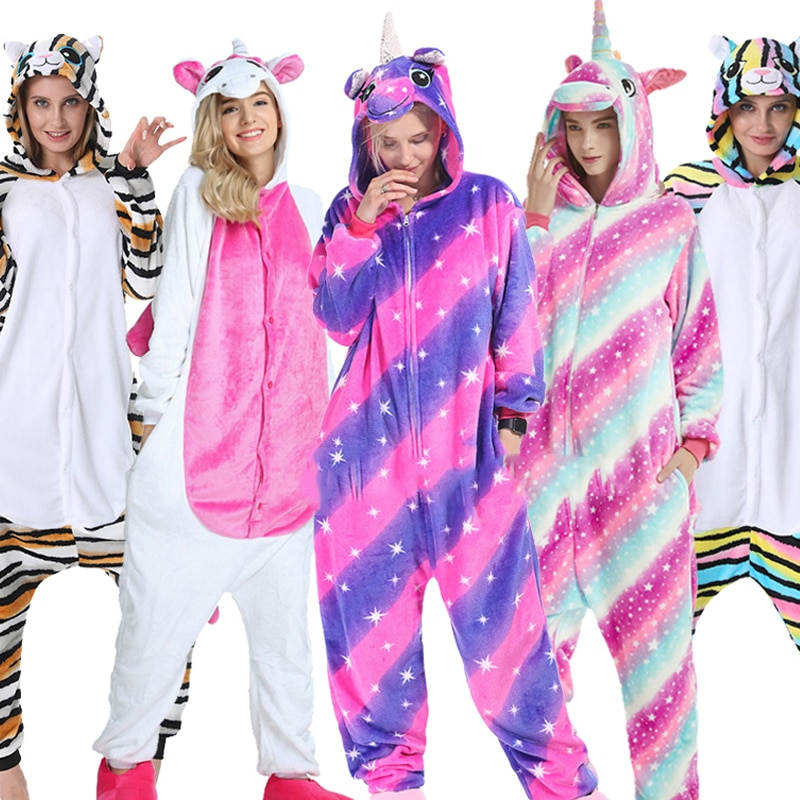 Kigurumi Women Unicorn Pajama Adult Animal Stitch Onesie Boys Girls Men Couple 2020 Winter Pajama Suit Sleepwear Flannel Pijama
