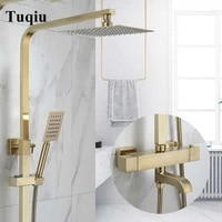 thermostatic rainfall shower set faucet mixer tap with tub faucet brass brushed gold bath shower faucet set bathtub faucet