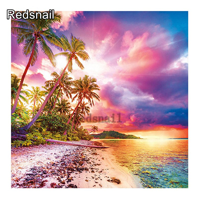 DIY pintura de diamante Color atardecer océano cocotero árbol diamante 5D bordado redondo squiedrill mosaico decoración de punto de cruz TT994