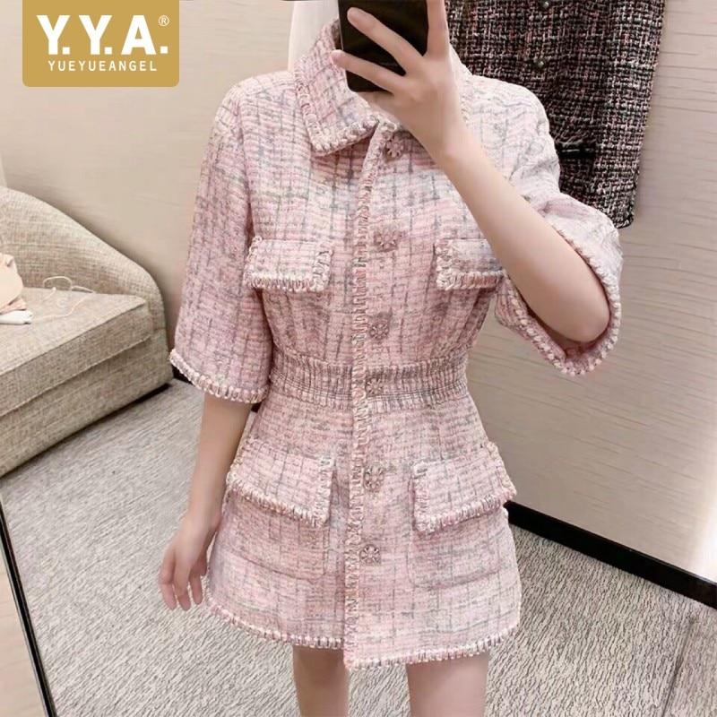 الخريف المرأة الجديدة عالية الجودة تويد قصيرة اللباس سترة ضئيلة الخصر جيب أنيقة خمر الوردي واحدة الصدر اللباس الإناث S-L