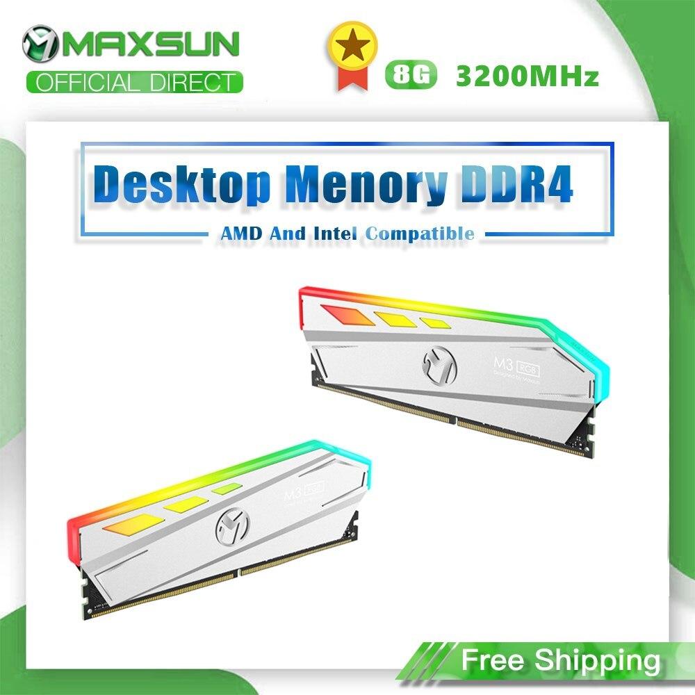 Najnowszy MAXSUN oświetlenie RGB RAM ddr4 8GB 3200MHz interfejs 288Pin napięcie pamięci 1.2V dożywotnia gwarancja memoria oryginalne pamięci RAM