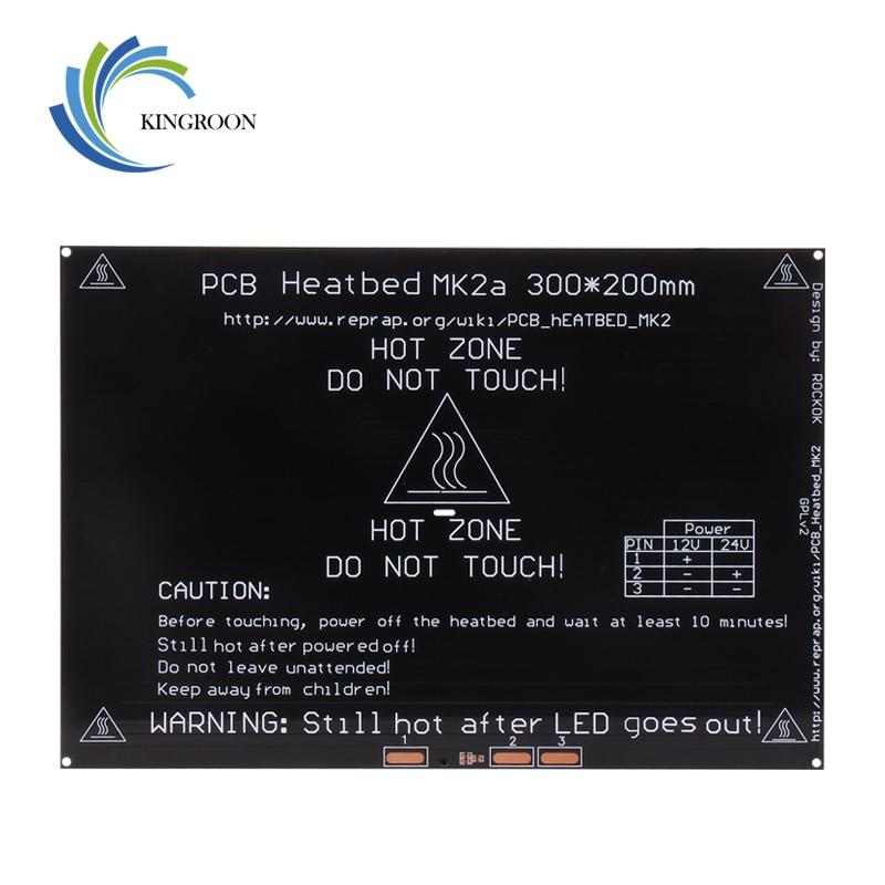 KingRoon Upgraded MK2A heatbed 3D Printer Parts Accessories PCB Aluminum Heatbed 300*200*3mm MK2B Aluminum Plate impressora 3d