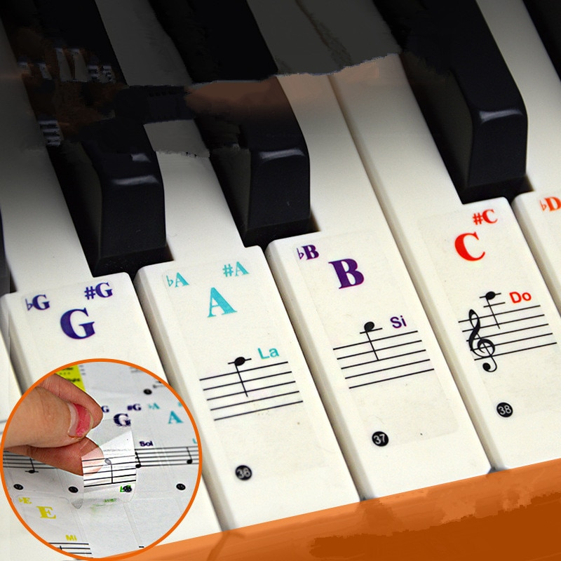 49/54/61/88 color Transparent Piano Keyboard Stickers Electronic Keyboard Key Piano Stave Note Stick