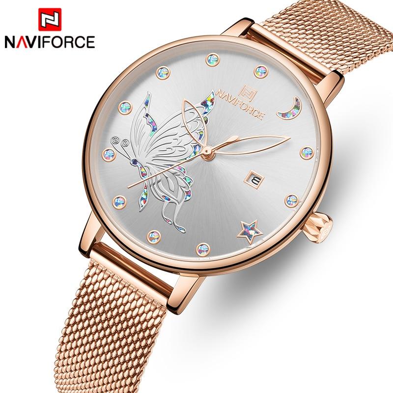 NAVIFORCE montre en cristal de luxe femmes haut de gamme en or Rose maille en acier dames montres Bracelet fille horloge Relogio Feminino