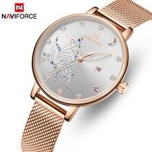 NAVIFORCE reloj de lujo de cristal para mujer, relojes de pulsera de malla de acero dorado rosa para mujer, relojes de pulsera para chica, reloj femenino