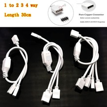 Câble de connecteur RGB 4 broches 1 à 2 3 4 Ports câble de séparateur dextension de LED fil pour bande de LED RGB avec fiches 4 broches