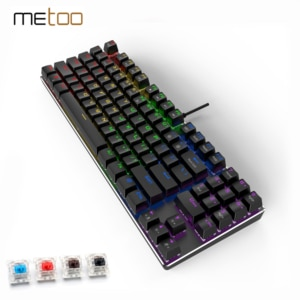 METOO Проводная игровая механическая клавиатура с подсветкой, 89 клавиш, защита от привидения, синий, красный, коричневый переключатель, кнопки...