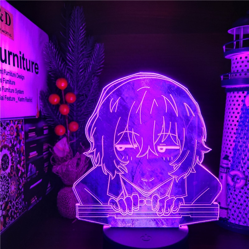 Anime Figures Bungo Stray Dogs Dazai 3D Night Lights Model Toys Juguetes Action Figurals Decoration Doll Lamp Figma Brinquedos