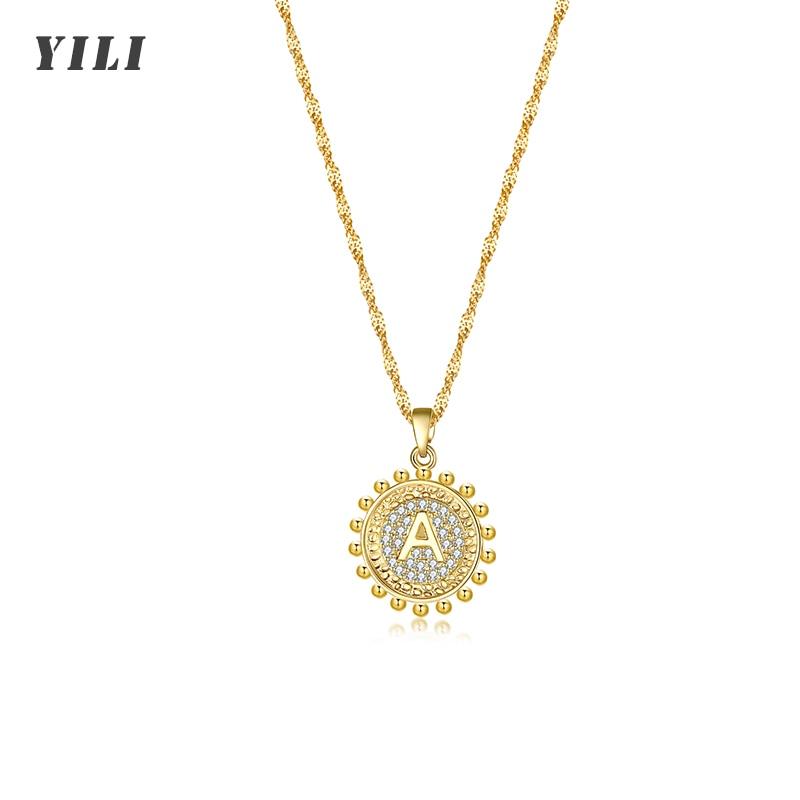 Hot Sale Round Initial Letter Necklace for Women Gold A-Z Letters Pendant Necklaces Cubic Zircon 26