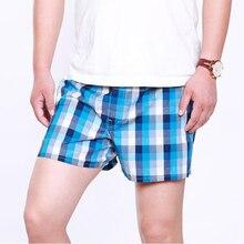 1pc męska bawełniana strzałka bokserki Casual nadruk w szkocką kratę w pasie bielizna lato luźne oddychające spodnie plażowe bokserki