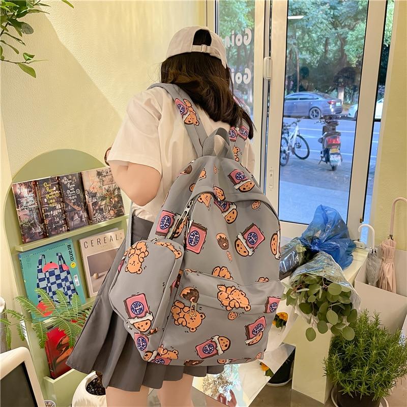 Fashion Women Backpack For Teenager Cute Waterproof College Black Kawaii Girl Student Mini Rucksack