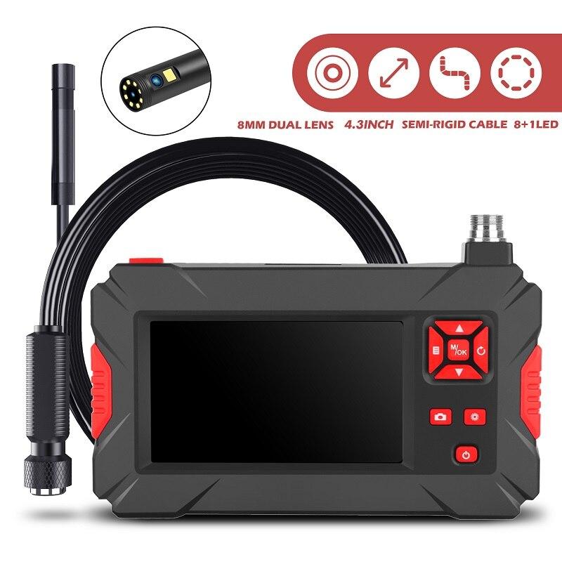 P30 منظار فحص عدسة كاميرا مزدوجة HD1080P 4.3 بوصة شاشة IP67 مقاوم للماء المنظار الصناعي LED أضواء بطارية 2600mAh