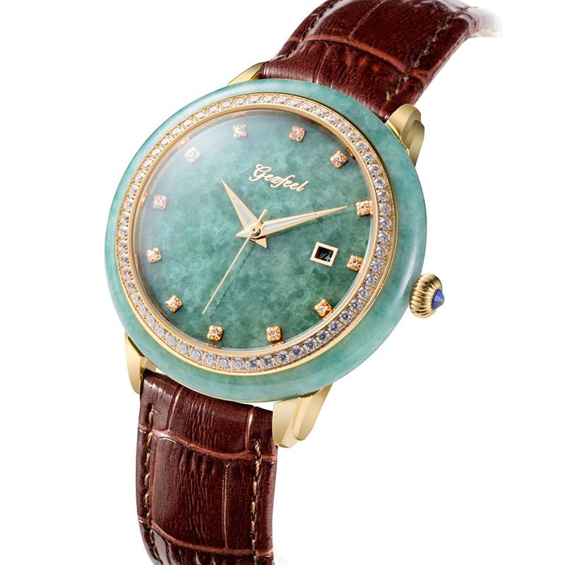 Clássico masculino jade relógio mecânico puro material natural à prova dwaterproof água relógios masculinos relogio montre homme masculino relógio de pulso