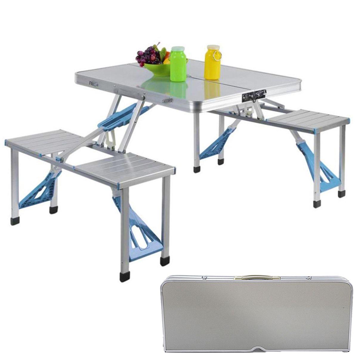 المحمولة في الهواء الطلق طاولة قابلة للطي حديقة سبائك الألومنيوم مجموعة مقاعد الطاولة مقاوم للماء دائم التخييم نزهة أثاث خارجي