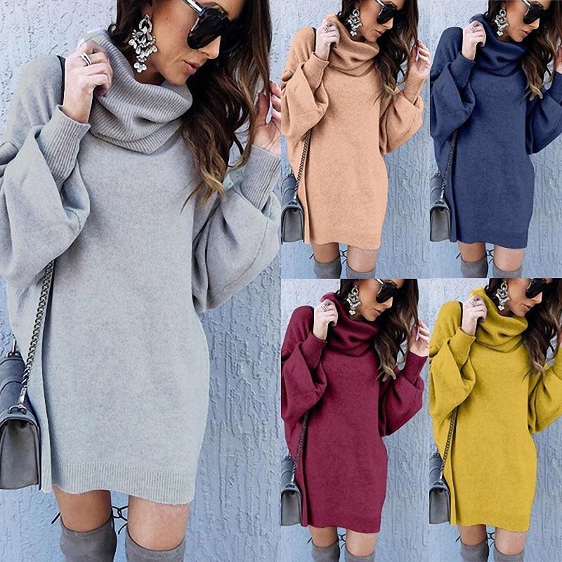 ¡Novedad de 2020! Suéter elegante liso informal cálido de cuello alto y cuello alto holgado con nuevo estilo para Otoño e Invierno para mujer