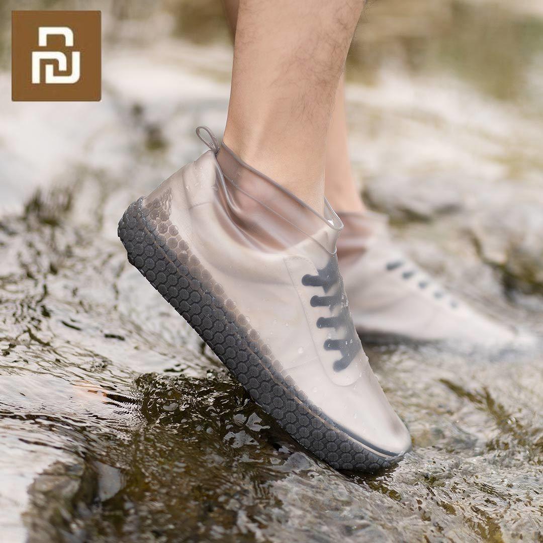 Xiaomi Zaofeng 1 par de botas de lluvia impermeables portátiles, cubiertas Unisex, cubierta para zapatos contra la lluvia, antideslizantes, protectores de zapatos para la lluvia de silicona