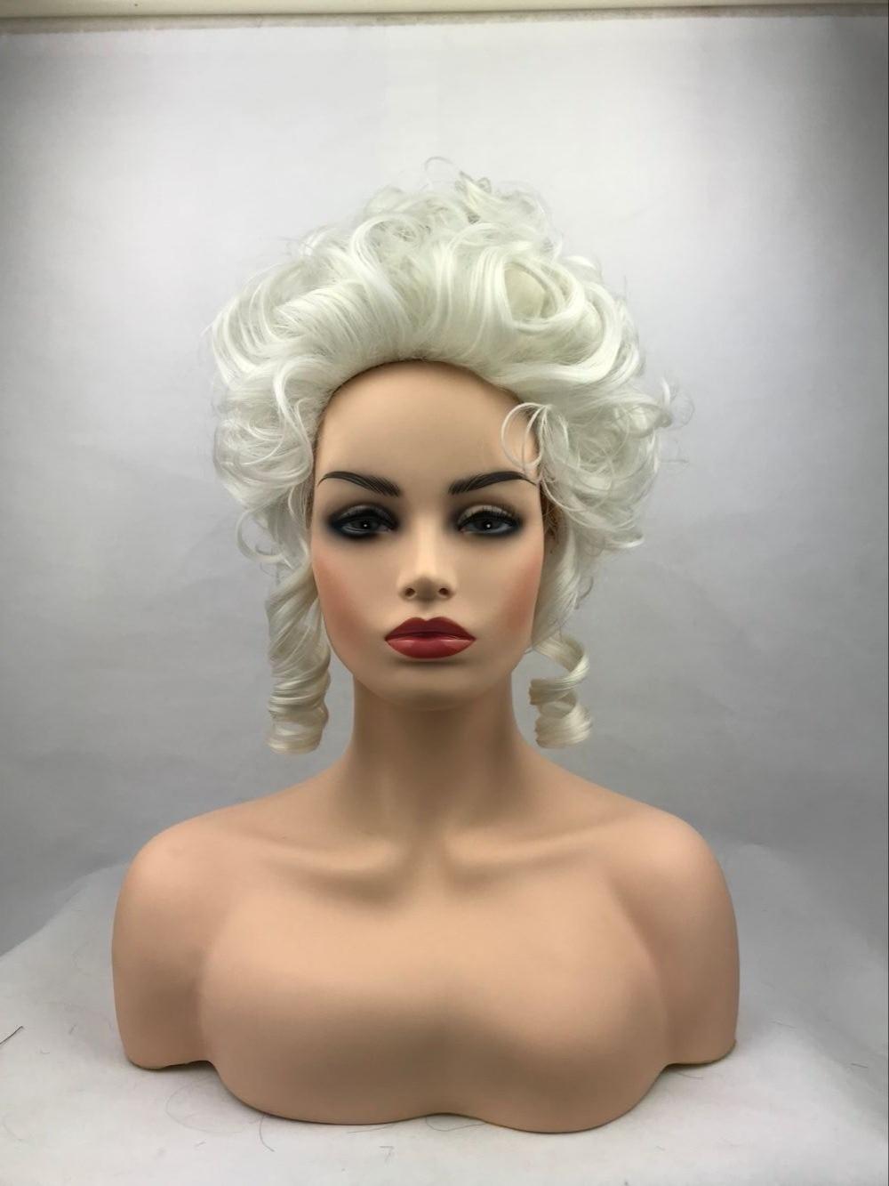 Hihg Quality Marie Antoinette Princess Medium Curly Cosplay Wig Heat Resistant Synthetic Hair Cosplay Wigs + Wig Cap