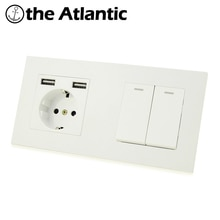 Atlectric DE EU Standard Plug Double Socket Dual USB 1 2 3 4 Gang Lamp Light Button Switch Wall Power Electrical Outlet