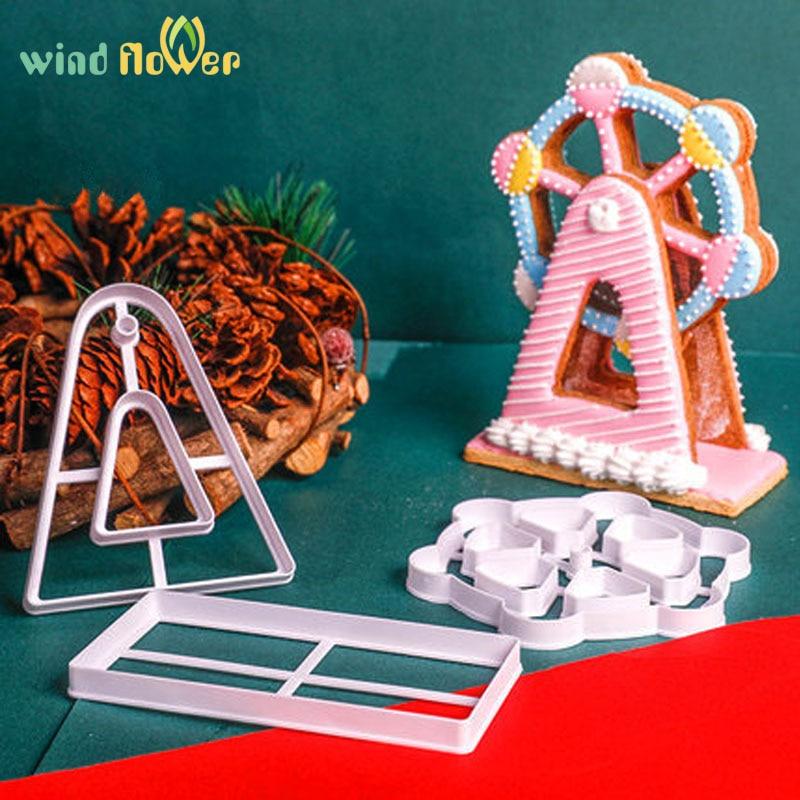 Vent fleur 3 pièces/ensemble 3D grande roue emporte-pièce Fondant gâteau cuisson outil moule gâteau décor en relief moules cuisson pâtisserie moule
