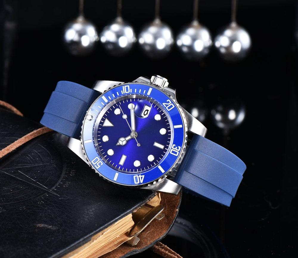 ساعة رجالي حركة أوتوماتيكية الأزرق العقيم الهاتفي السيراميك الدورية الحافة سوار الفولاذ المقاوم للصدأ