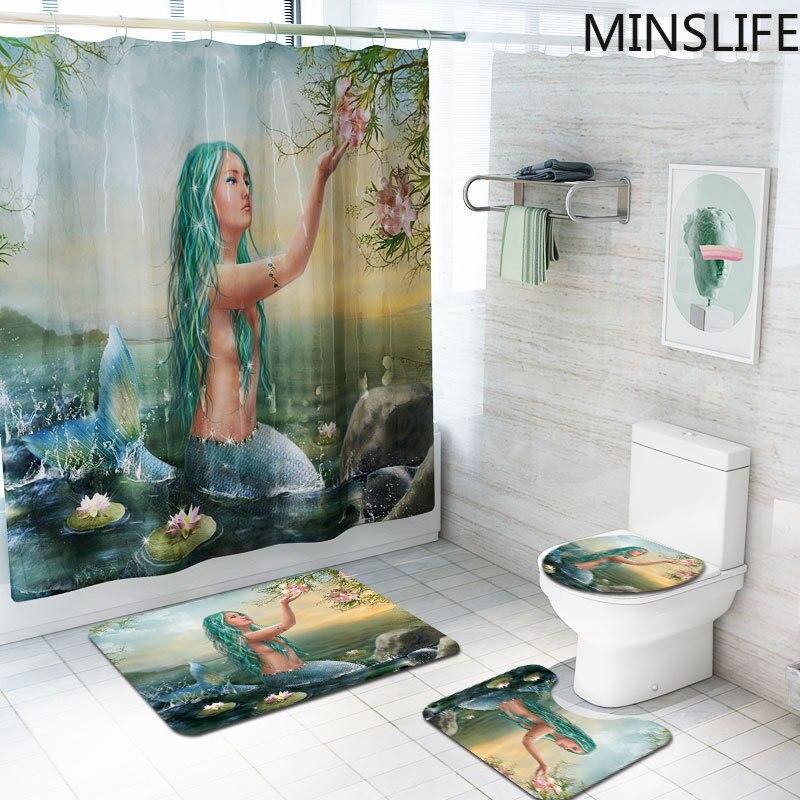 3D Aquarium douche rideaux vert-cheveux sirène motif bain rideaux ensemble anti-dérapant tapis de bain piédestal tapis toilette siège couverture