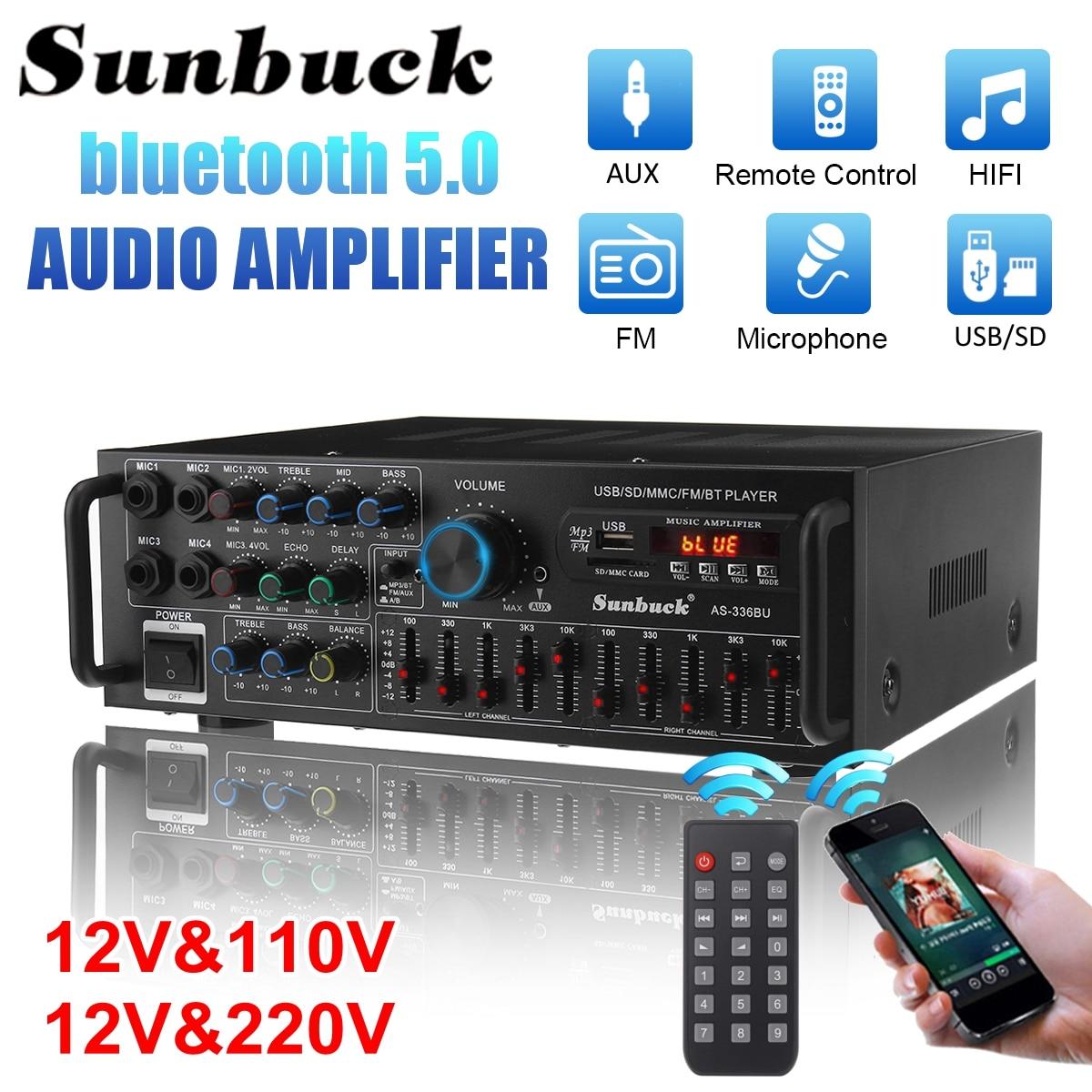 SUNBUCK 2000 واط بلوتوث مكبر صوت استيريو الصوت المحيطي USB SD أمبير FM DVD AUX شاشة الكريستال السائل السينما المنزلية كاريوكي التحكم عن بعد