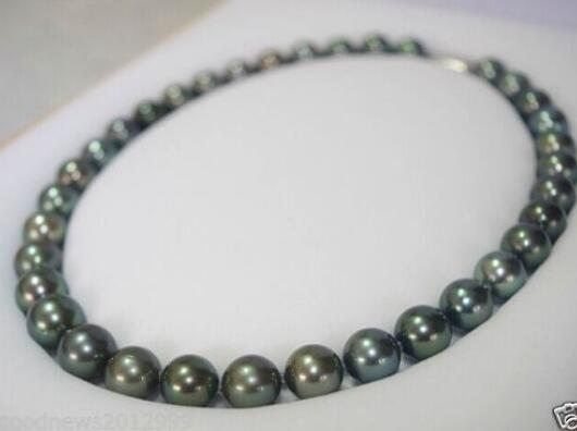 "18 ""8-9mm tahitian genuíno preto pavão azul verde pérola colar 925 prata fecho 1 pedido"