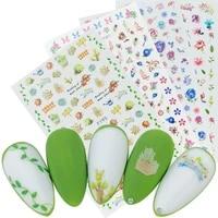 1 sheet ultra thin gummed 3d nail art sticker flowers succulent butterfly designs nail slider manicure decals decoration