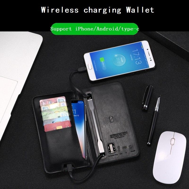 محفظة جلدية متعددة الوظائف مع منفذ شحن لاسلكي ، محفظة ، حامل بطاقات ، لأجهزة iphone 11 و 12 و Samsung
