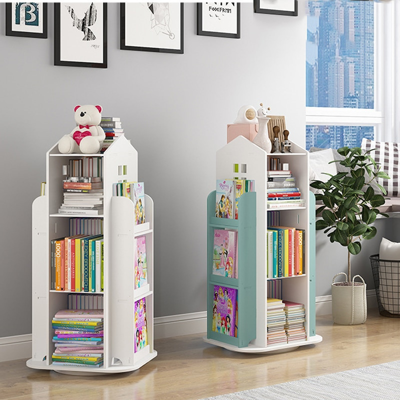 Children's Bookshelf 360° Rotating Magazine Picture Book Newspaper Rack Floor Simple Book Shelf For Home Bookcases Furniture
