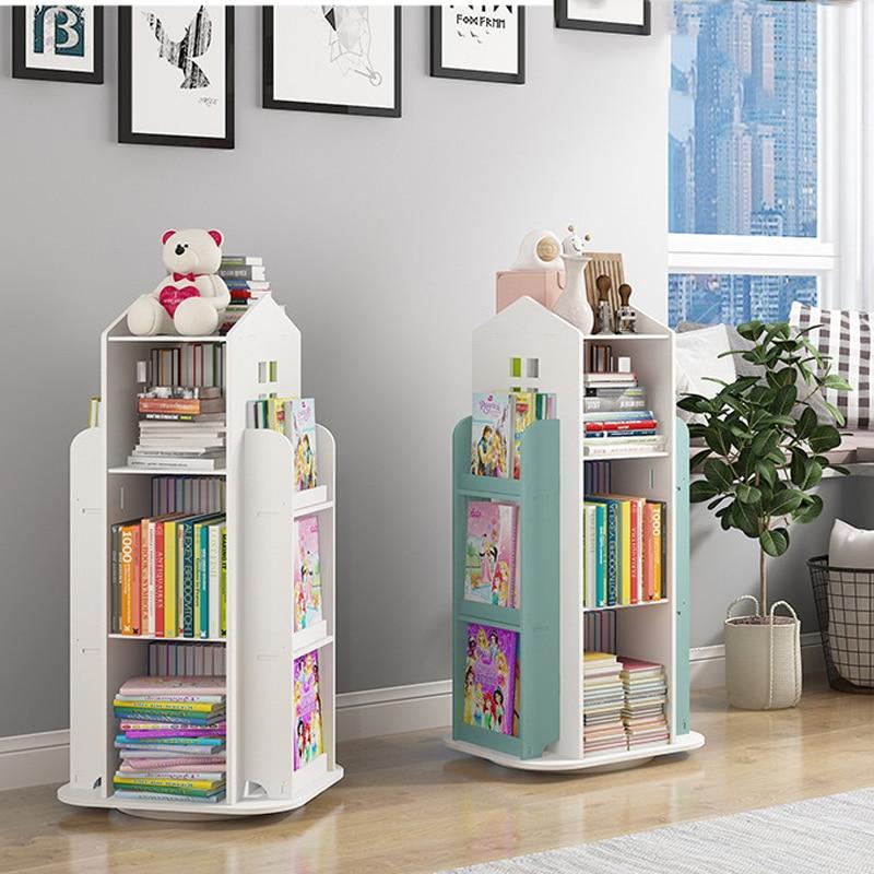 Children's Bookshelf 360° Rotating Magazine Picture Book Newspaper Rack Floor Simple Book Shelf For Home Bookcases Furniture