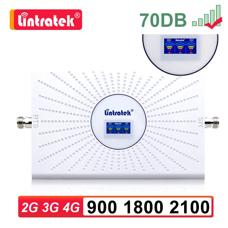 Lintratek 2G 3G 4G repetidor de señal para teléfono móvil amplificador 900mhz GSM LTE DCS WCDMA 900, 1800 de 2100 Amplificador de señal móvil 70dB sk