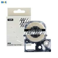 aive 12mm label tapes ss12kw compatible for epson lw 400 300 600p 700 lc 4wbn kingjim sr530c sr230ch home printer black on white