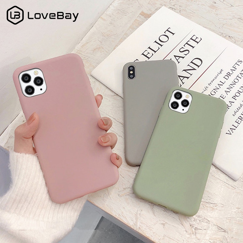 Lovebay Cute Matte Solid Candy Color Phone Case For iPhone 11 12Pro SE 2020 X XR XS Max 8 7 6 6s Plu