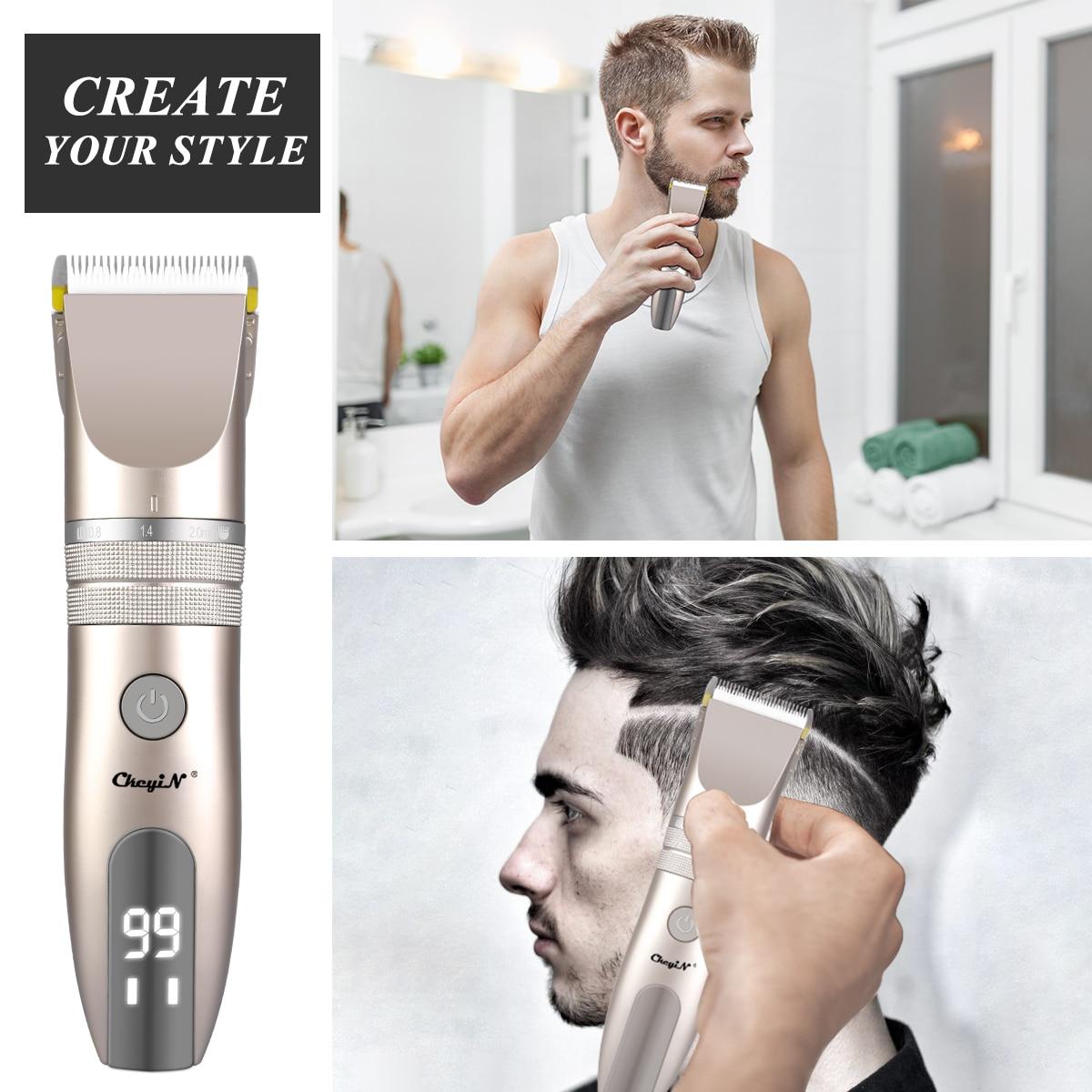 CkeyiN المهنية الكهربائية كليبرز قابلة للشحن LED عرض منخفض الضوضاء مشابك شعر الرجال المنزل الحلاق عدة الحلاقة أدوات للعناية الشخصية