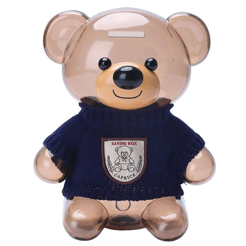 Большая пластиковая мультяшная копилка медведь банка для монет депозитный ящик