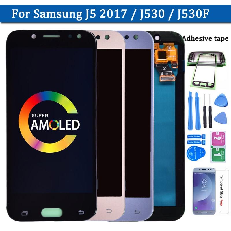 100% süper Amoled samsung lcd Galaxy J5 2017 J530 J530F AMOLED lcd ekran dokunmatik ekranlı sayısallaştırıcı grup ücretsiz kargo