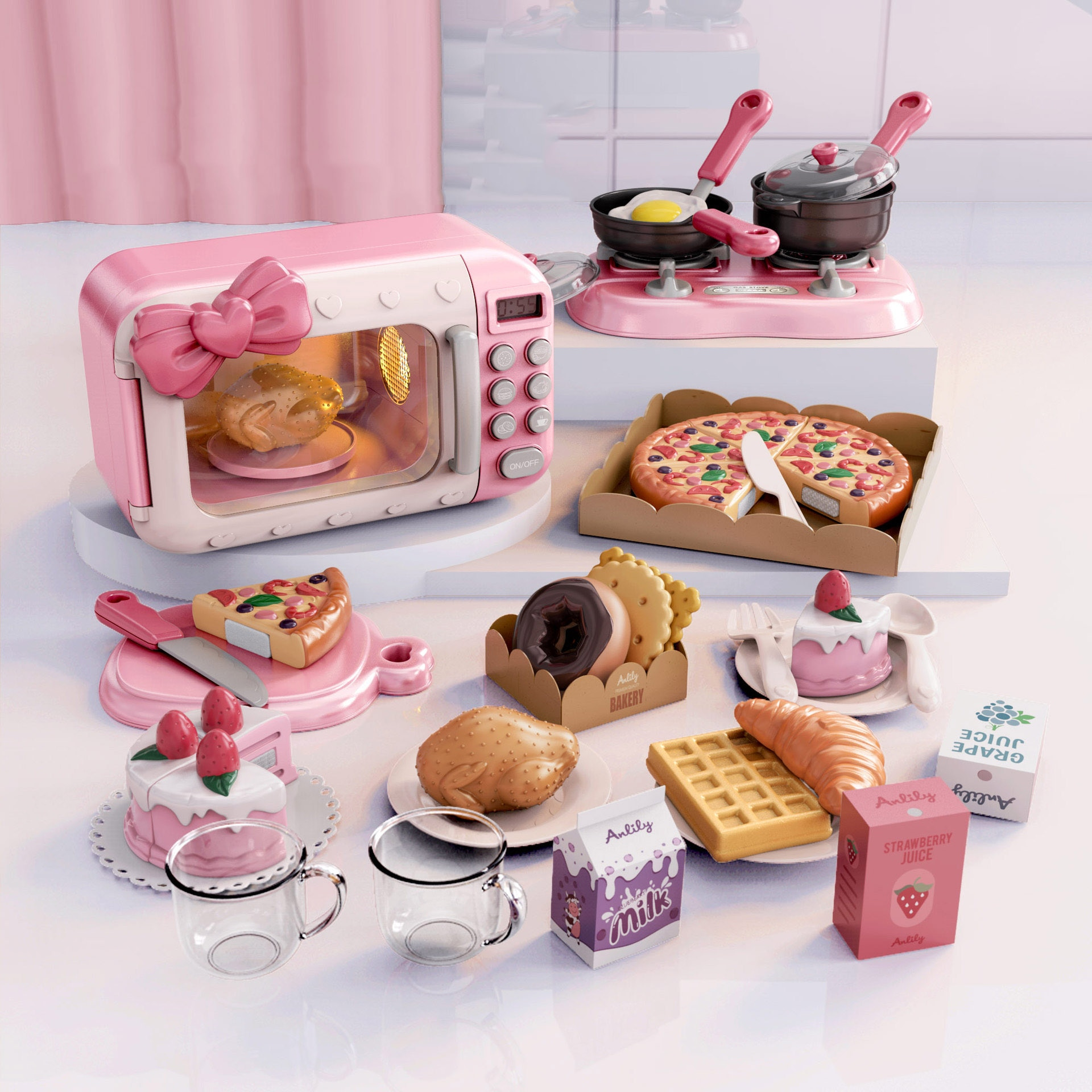 children s toy doll stroller play pretend toy children s toy cart girl play house toy trolley birthday gifts brinquedos juguetes Children Play House Toys Simulation Kitchen Toy Timing Rotary Microwave Oven Cooking Pretend Toy Set Kids Gifts
