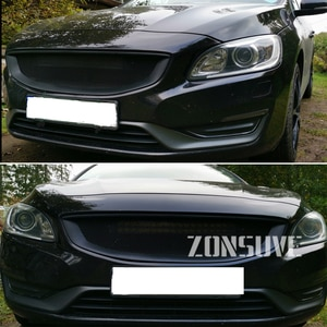 Use For Volvo V60 S60 2014-2018 Year 4-door Carbon Fibre Refitt Front Center Racing Grille Cover Accessorie Body Kit Zonsuve