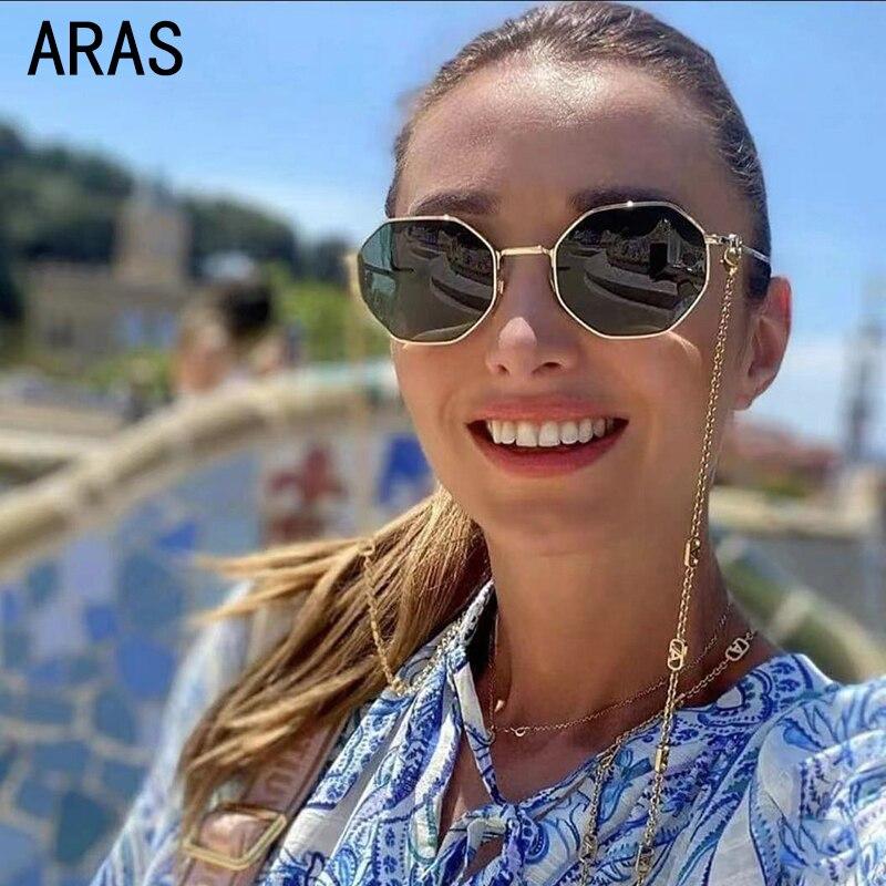 Fashion Unique Sunglasses Women 2021 Luxury Brand Chain Polygon Retro Square With Chain Sun Glasses